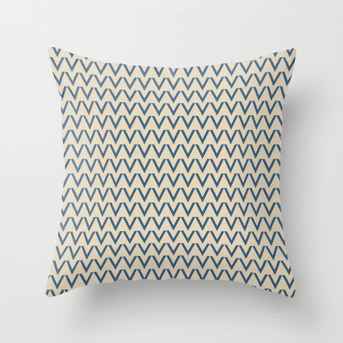 Dark Tropical Blue V Chevron Pattern on Beige Pair To 2020 Color of the Year Chinese Porcelain Throw Pillow