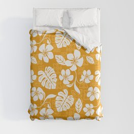 Orange & White Hibiscus Aloha Hawaiian Flower Blooms and Tropical Banana Leaves Pattern Duvet Cover