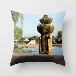 Santa Barbara Mission Fountain Throw Pillow