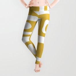Atomic Age Pod Pattern in White and Mustard Yellow - Minimalist Midcentury Design Leggings