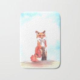 red fox in watercolor Bath Mat