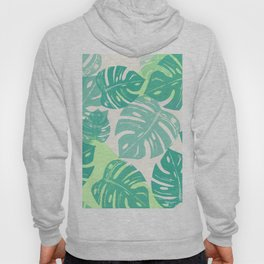 Linocut Monstera Green Hoody