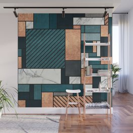 Random Pattern - Copper, Marble, and Blue Concrete Wall Mural