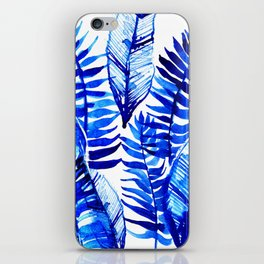 Jungle Leaves & Ferns in Blue iPhone Skin