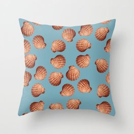 Light blue Big Clam pattern Illustration design Throw Pillow