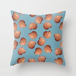 Light blue Big Clam pattern Illustration design Throw Pillow