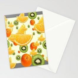 ORANGES & KIWI FRUIT GREY COLLAGE Stationery Cards