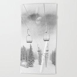 Ski Lift Moon Break // Riding the Mountain at Copper Colorado Luna Sky Peeking Foggy Clouds Beach Towel