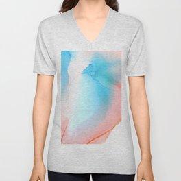 Peach and sky blue Abstract fluid ink Unisex V-Neck