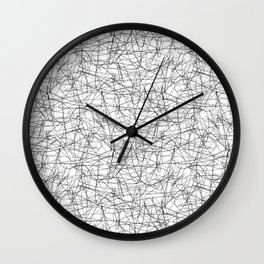 Abstract pen drawing - black and white pattern Wall Clock