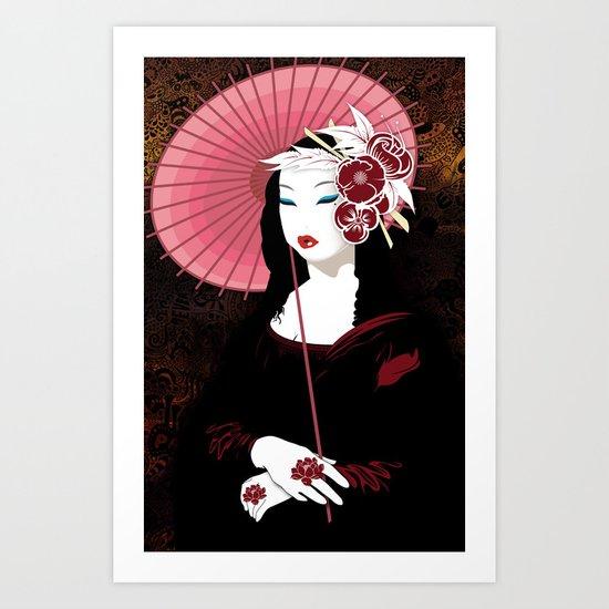 Mona Geisha Lisa Art Print