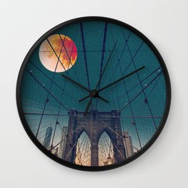 Blood Moon over the Brooklyn Bridge and New York City Wall Clock