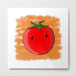 Cute Cartoon Tomato  Metal Print