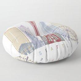 Seattle V2 skyline poster Floor Pillow
