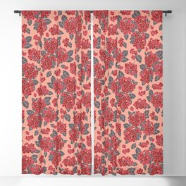 Pretty and bright pink hydrangea flowers.  Floral pattern Blackout Curtain
