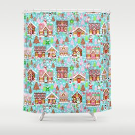 gingerbread Christmas Village Shower Curtain