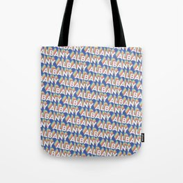Albany, New York Trendy Rainbow Text Pattern (Blue) Tote Bag