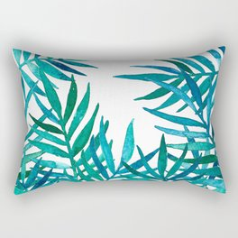 Watercolor Palm Leaves on White Rectangular Pillow