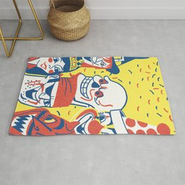 Scary halloween skull and characters vintage hand drawn illustration Rug