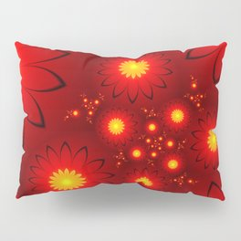 Shining Red and Yellow Flowers, Fractal Art Pillow Sham