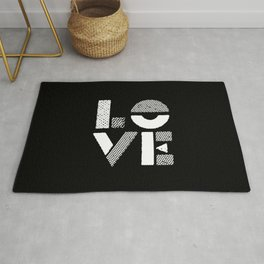 Love black and white contemporary minimalist typography design home wall decor bedroom Rug