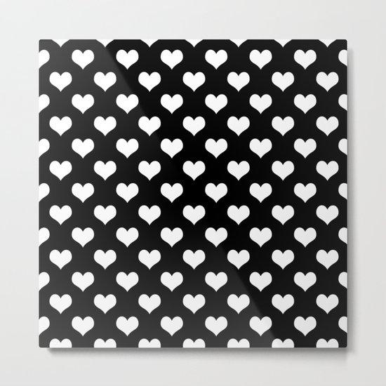 Black White Hearts Metal Print