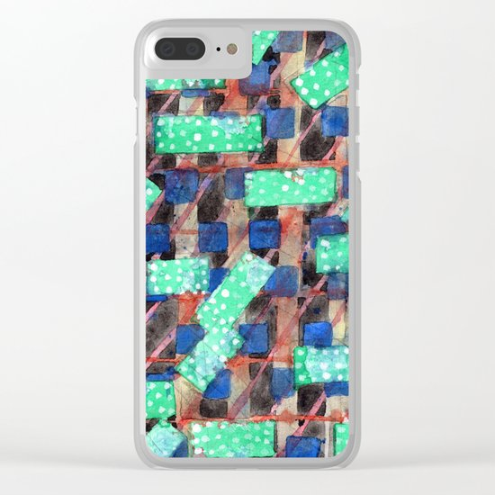 Dotted Green Rectangles on Top Pattern Clear iPhone Case