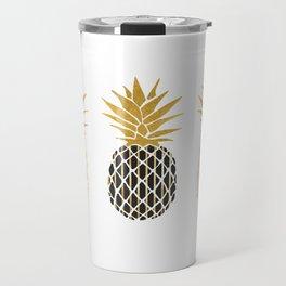 fun pineapple design gold Travel Mug