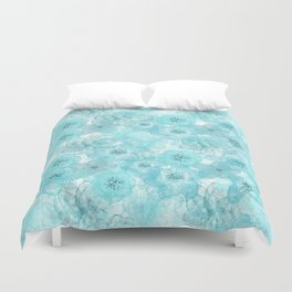 Turquoise aqua flower lace pattern Duvet Cover