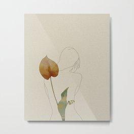 Female Behind a Flower Metal Print