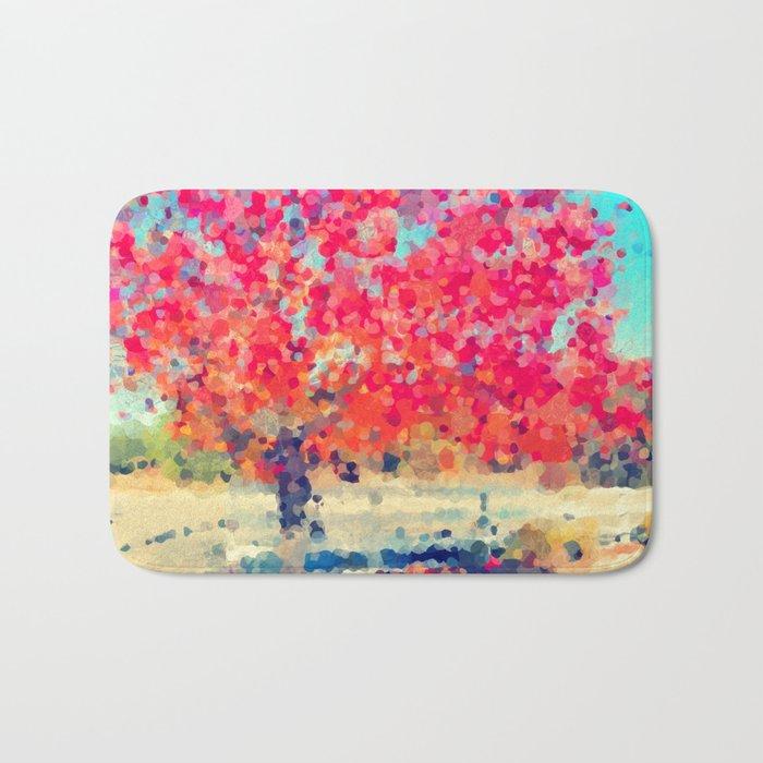 Orange Tree Watercolor digital Bath Mat