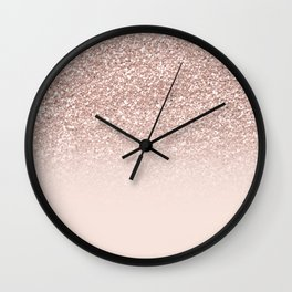 Modern sparkles rose gold ombre sequins glitter fancy girly blush pink Wall Clock