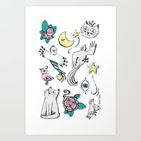 tatoo Art Prints featuring Tatoo by Lorene R illustration