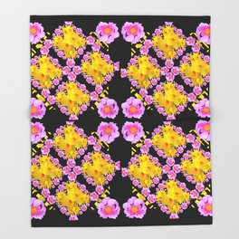 Black Roce & Yellow Color Pattern Floral Throw Blanket
