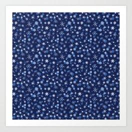 True Blue Snowflake Pattern Art Print