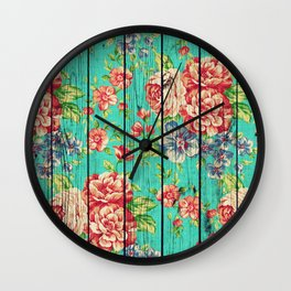 Flowers on Wood 06 Wall Clock