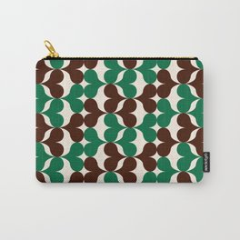 Retro heart pattern green & brown. Carry-All Pouch
