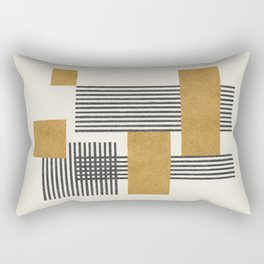 Stripes and Square Composition - Abstract Rectangular Pillow