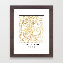 JERUSALEM ISRAEL PALESTINE CITY STREET MAP ART Framed Art Print