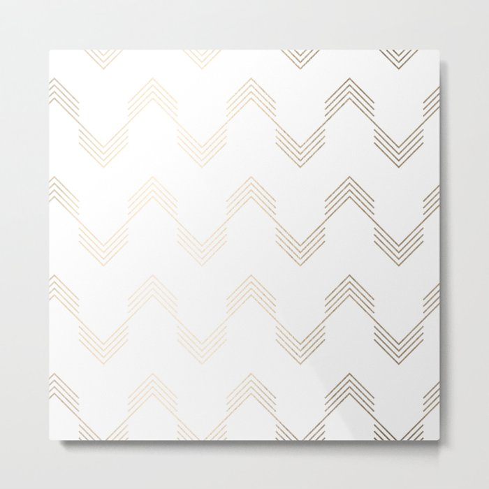 Simply Deconstructed Chevron White Gold Sands on White Metal Print
