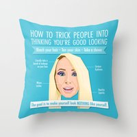 jenna kutcher Throw Pillows featuring Jenna Marbles Infographic by Tanita