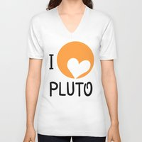 """nasa V-neck T-shirts featuring """"I love Pluto"""" fan art logo, inspired by heart-like relief on planet. Devoted to NASA mission to bou by Andrew Turtsevych"""