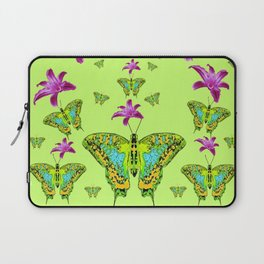 LIME COLOR PURPLE LILIES GREEN MOTHS Laptop Sleeve