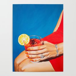 Sitting Pretty / Girly Cocktail Painting Poster