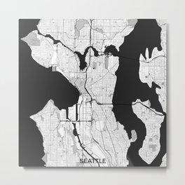 Seattle Map Gray Metal Print