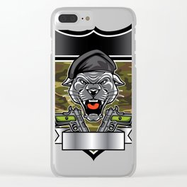 Cougar Panther Mascot Head military emblem Clear iPhone Case