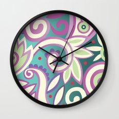 Summer leaves, soft pastels Wall Clock