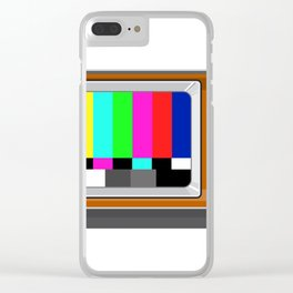Retro Television Set TV Test Card Signal Pattern Clear iPhone Case