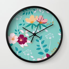 Exotic Flower Pattern Wall Clock