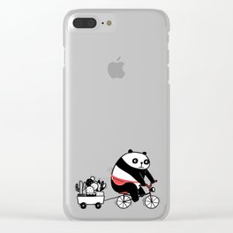 Cacti delivery. Panda on bicycle. Clear iPhone Case